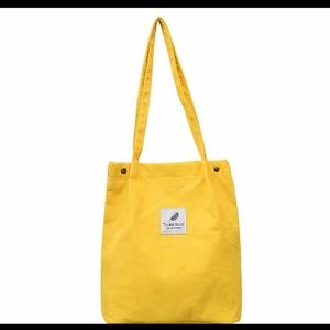 Handbags - Women yellow corduroy tote ladies casual solid bag